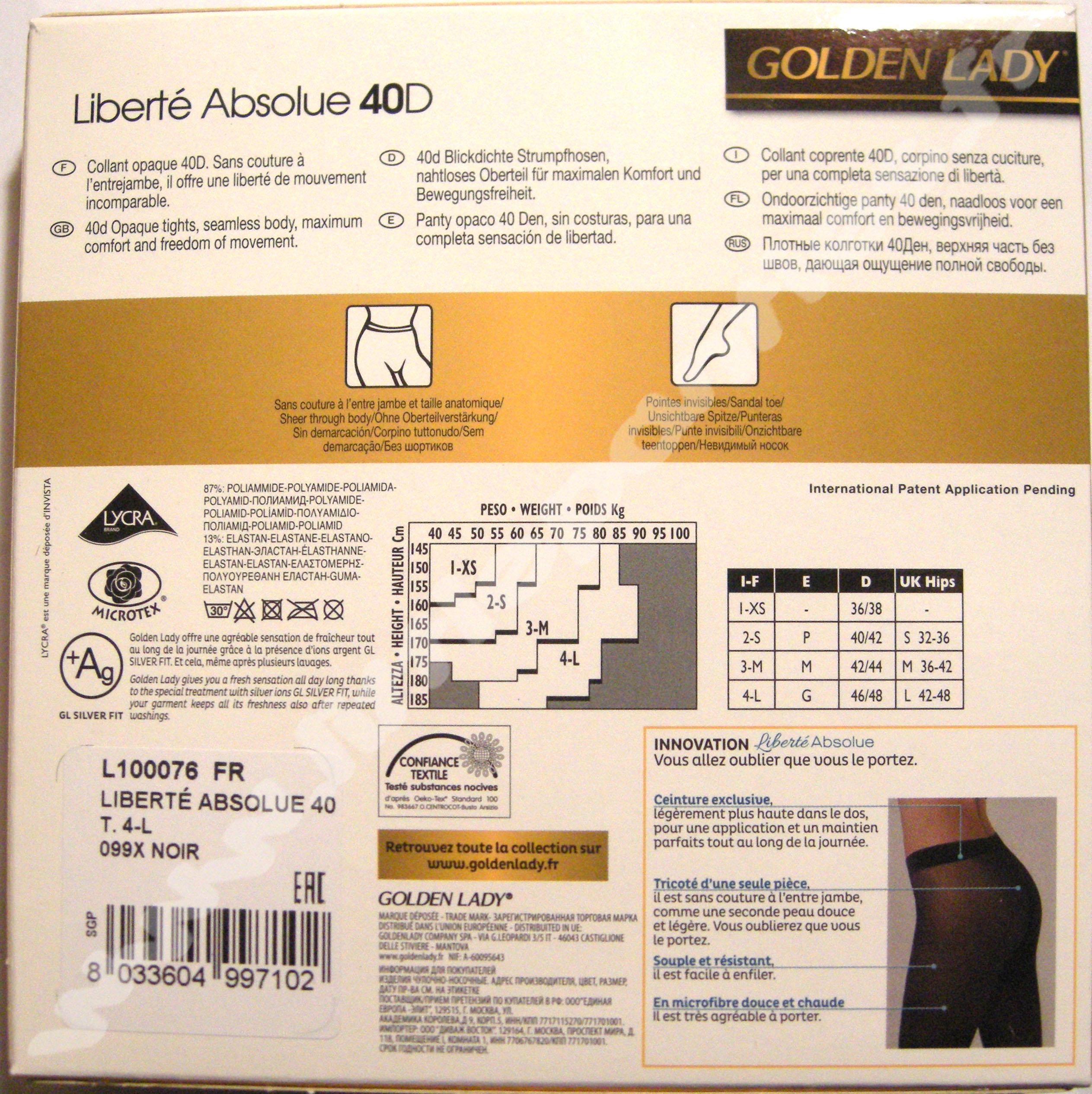 Collection de collants et bas GOLDEN LADY - Liberté Absolue - Opaque bb44fde5281
